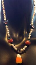 Real Seed Pearl Halloween Necklace W Pumpkin Cats Candy Corn & Crystal