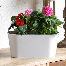 3 x 3 Ltr White Oval Indoor Plant Pot Covers Planters Herb Troughs Window Boxes