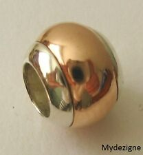GENUINE SERENITY 9ct SOLID ROSE GOLD & 925 STERLING SILVER CHARM DOME BEAD