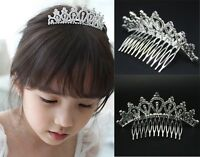 Bridemaid Baby Girl Kids Rhinestone Crown Bridal Tiara Hair Comb Wedding Party