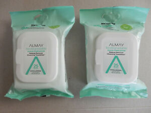 (2) ALMAY/BIODEGRADABLE CLEAR COMPLEXION/MAKEUP REMOVER CLEANSING TOWELETTES