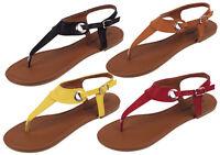 Women's Sandals Roman Gladiator Flats Fashion Thongs T Straps Shoes, Sizes: 5-11