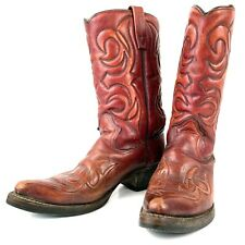 10 D Vintage 70s Texas Mahogany Brown Leather Western Cowboy Boots Usa