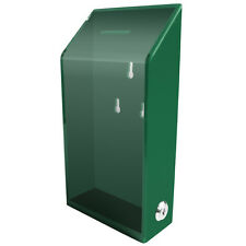 MCB Acrylic Charity Donation box,Tip Container,with lock & 2 keys(Green)