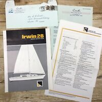 Vintage Sailboat Dealer Sales Brochure Irwin Yacht 28 1970 Price List Boating Ad