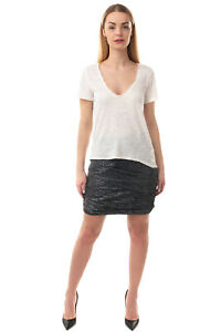 WE THE FREE Top Size XS Linen Blend Slub Yarn Lace Trim Short Sleeve Scoop Neck