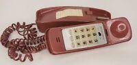 Vintage Push Button Telephone Landline Burgundy Prop Untested