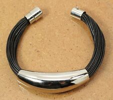 "Steel by Design Stainless Steel Multi-Strand 6"" Slider Bracelet w Magnetic Clasp"