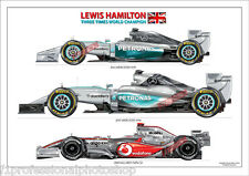 Lewis Hamilton 3 times F1 World champion 08,14,15 A4 print No44 signed by artist
