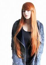 C360 lange glatte Volumen Perücke kupfer rot orange langer Pony Wig Prettyland