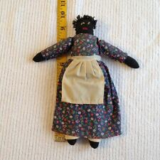 "Vintage Primitive Americana 9.5"" Black Folk Art Rag Doll"