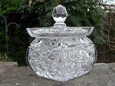 ANTIQUE ART DECO BOHEMIAN IRISH? WATERFORD VERY HEAVY CUT GLASS BISCUIT BARREL