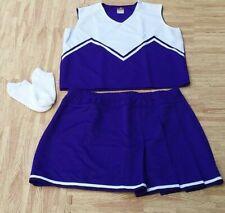 "Adult Plus Size Purple Cheerleader Uniform Top Skirt Socks 42-44/36-40"" Cosplay"