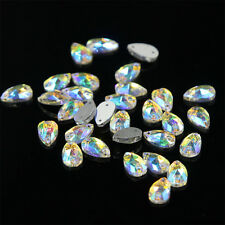 Water Tear Drop Shape Rhinestone Crystal AB Sew-on 2 Hole Flatback Craft 48Pcs