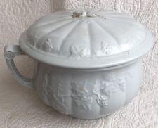 Vintage White Ironstone China W&E Corn Burslem Chamber Pot Planter Grape Vine