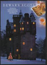 1992 DEWAR's WHITE LABEL Scotch - Scotland - Castle - Christmas Tree  VINTAGE AD