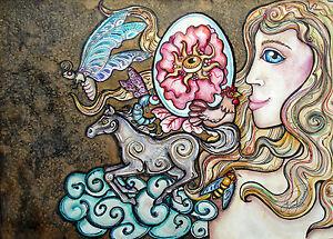 Lisa Luree art Original Horse Egg Blonde nude HARVEST Entomology painting ooak