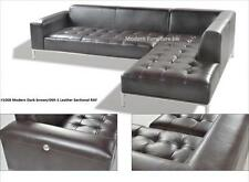 2 PC Modern contemporary Dark Brown Leather Sectional Sofa w/ chrome base #1008