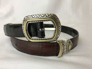 Brighton Black Brown Leather Croc Western Belt REVERSIBLE Silver Gold Buckle XS