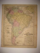 SUPERB ANTIQUE 1852 SOUTH AMERICA HANDCOLORED MAP BUENOS AIRES ARGENTINA BRAZIL
