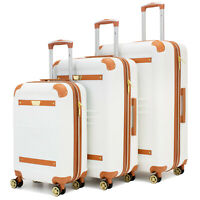 19V69 ITALIA Vintage Expandable Retro Spinner Luggage Set (2/3 Piece - BK/GY/WH)