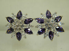 EARRINGS:  NEW PURPLE AMETHYST WHITE ZIRCON MARQUISE&ROUND WHITE GOLD FILLED