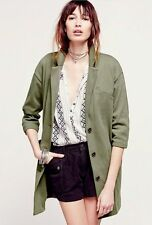 NEW FREE PEOPLE GREEN WOMEN'S WHOLE STORY KNIT SLOUCHY BLAZER JACKET SIZE SMALL