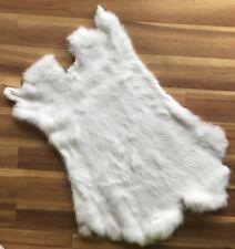 1x WHITE Rabbit Skin Real Fur Pelt for animal training, crafts, fly tying, LARP