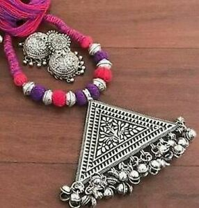 Indian Ethnic Oxidized Silver Plated Black Choker Necklace set EARRINGS