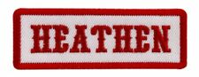 Heathen Red White Embroidered Patch (iron on Sew on  3.0 X 1.0 Inch HP4)