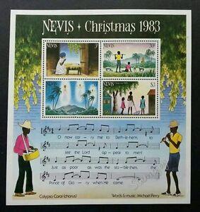 *FREE SHIP Nevis Christmas 1983 Song Music Lyric Children (miniature sheet) MNH