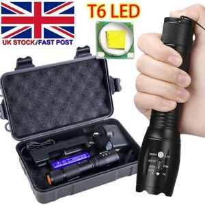 Police 990000LM T6 LED Super Bright Zoom Flashlight Powerful Camping Lamp Torch