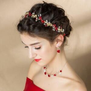 Rot Blumen Perle Braut Hochzeit Haargesteckt Haarband Haarschmuck Kristall