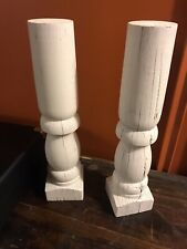 2 VINTAGE TURNED WOOD BALUSTERS SPINDLES CRAFT HOME DECOR CANDLE HOLDER