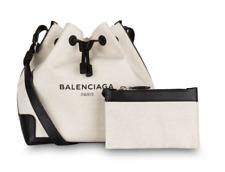BALENCIAGA Beutel Tasche + Clutch Schwarz Weiß Leder Leinen Navy Cabas Bag Black