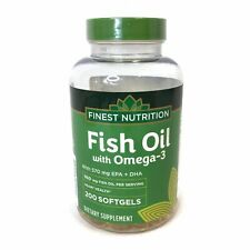 Finest Nutrition Fish Oil 950 mg With Omega-3 200 Softgels 570mg EPA+DHA 11/2021