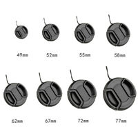 Center Pinch Snap On Front Lens Cap Cover For Canon Nikon Sony+String 49-77mm