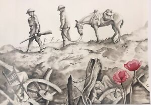 LIMITED EDITION A4 ORIGINAL PRINT HAND SIGNED BY THE ARTIST WW1 WAR IMAGE
