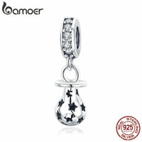 Bamoer S925 Sterling Silver charms With CZ Pacifier Dangle Fit Women Bracelets