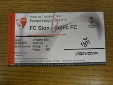 25/08/2011 Ticket: FC Sion v Celtic [UEFA Europa League] (folded). Bobfrankandel