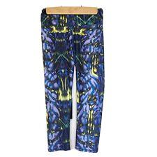 Fabletics Women's Size XS Blue Yellow Crop Capri Yoga Gym Workout Pants Leggings