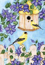 "Goldfinches Spring House Flag Floral Birdfeeder 28"" x 40"" Briarwood Lane"