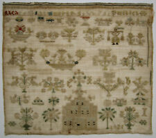 1821 ANTIQUE DUTCH SILK ON LINEN CROSS STITCH NEEDLEWORK SAMPLER EMBROIDERY