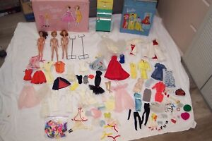 """VINTAGE BARBIE DOLL COLLECTION EARLY 60'S CASES CLOTHES ACCESORIES ETC """"LOOK"""""""