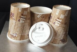Disposable Paper Coffee Tea CUPS & SIP LIDS 8oz,10oz,12oz Single Wall Catering