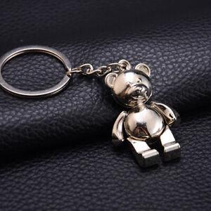 Cute Mini Metal Car Teddy Bear Key Ring Chain 3D Keyfob Keychain Keyring Gift