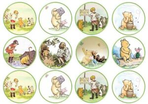 Winnie the Pooh Theme Edible Wafer Cup Cake Toppers Standing or Disc