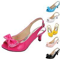 Womens Peep Toe shoes Ribbon High Heels summer PU Mid Heel Sandals UK size 0-10