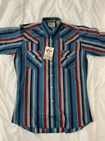 NWT VTG ELY CATTLEMAN Snap Button Short Sleeve Striped Shirt Size 15 1/2 NEW X3