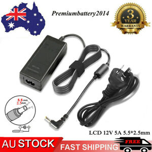 12 Volt 5 Amp (12V 5A) DC Supply AC Power Adapter Charger For PC LCD Monitor TV